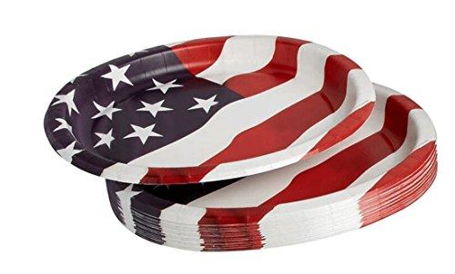 Americana Oval American Flagge Pappteller 12Zoll x 25,4cm, 20Zählen Americana-platte