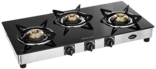 Sunflame GT Regal Stainless Steel 3 Burner Gas Stove, Black