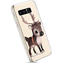 YSIMEE Fundas Samsung Galaxy Note 8 Carcasas,Xmas Decoración Fundas Transparente Silicona Suave Ultra Fina Delgado Gel Bumper TPU Goma Protectora Carcasas-Elk copo de nieve