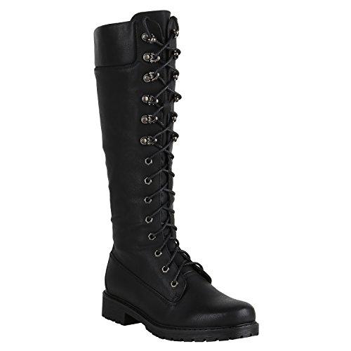Damen Stiefel Worker Boots Profilsohle Schnürstiefel Schuhe 149553 Schwarz Autol 40 | Flandell®