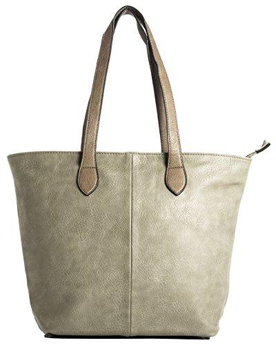BHBS Damen Promi Einfache weiche und leichte Schulter Handtasche 38 x 28 cm (B x H) Taupe