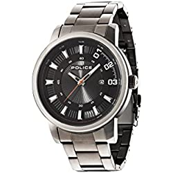 Police Men's Quartz Watch with Black Dial Analogue Display and Gun Metal Stainless Steel Plated Bracelet 14375JSU/02M