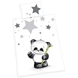 Herding 2685201063 Bettwäsche Jana Panda, Kopfkissenbezug 40 x 60 cm und Bettbezug 100 x 135 cm, Flanell/Biber