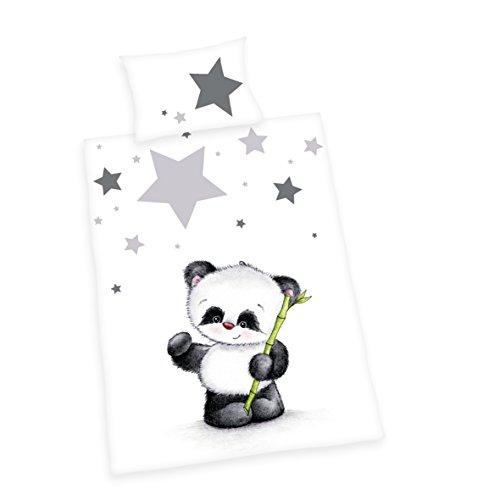 Herding 2685201063 Bettwäsche Jana Panda, Kopfkissenbezug 40 x 60 cm und Bettbezug 100 x 135 cm, Flanell/Biber (Amazon-bettwäsche Flanell-bettwäsche)