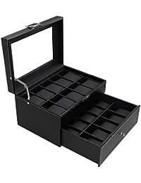 BASTUO 20 Watch Box Luxury Watch Display Organizer Carbon Fiber Leather Watch Storage Case,Black