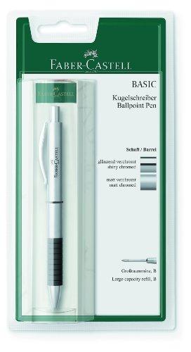 Preisvergleich Produktbild Faber-Castell 148478 - Kugelschreiber BASIC Metall, Mine: B, Schaftfarbe: silber