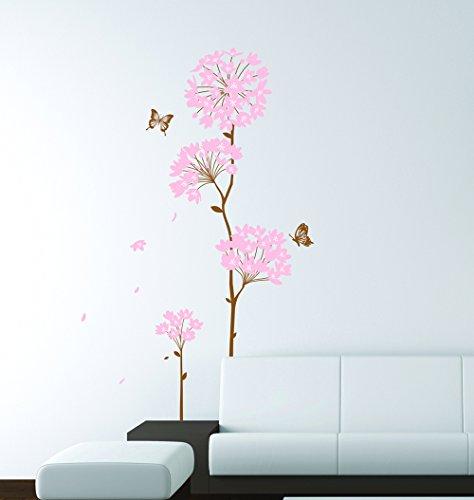 ufengke® Albero Rosa Fiori di Ortensia e Farfalle Adesivi Murali, Camera da Letto Soggiorno Adesivi (Ortensia Albero)