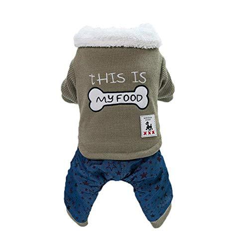 HYCy Haustier-Kostuuml;m Zweifarbig Spleiszlig;en Baumwolle Mantel Behalten Warm, Huuml;ndchen Bekleidung, Klein Mittel Hund, 4 Bein Kleidung