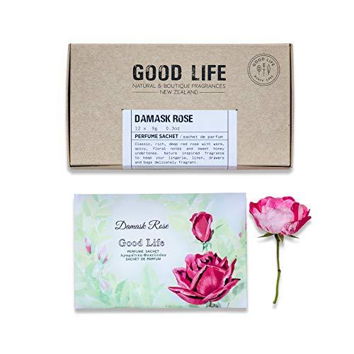 Good Life Sacchetti profumati alla Rosa damascena | Progettato e Prodotto in Nuova Zelanda | 12 bust