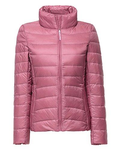 ZhuiKun Damen Daunenjacke Steppjacke Packbar Ultra Leicht Gewicht Daunenmantel Winter Jacke Pink S