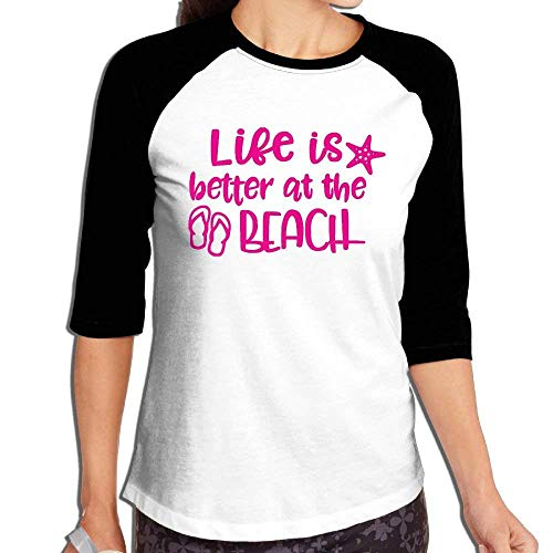 FHddg Women's Life is Better at The Beach 3/4 Sleeve Raglan Baseball Tee -