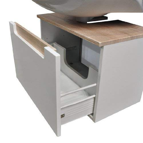 #Held Möbel 316.3022 Siena Unterbeckenschrank 1 Metallauszug, 60 x 40 x 35 cm, Hochglanz-weiß Eiche-Sonoma#