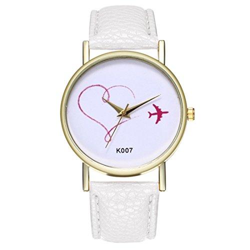 Papasgjx Armbanduhr Quarzuhr mit roten Motiven 1 Flugzeug 1 Herz in weißem Hintergrund runden Zifferblatt mit Goldfarbe Grenze Armband Weiß PU-Leder einfachen Stil für Frauen