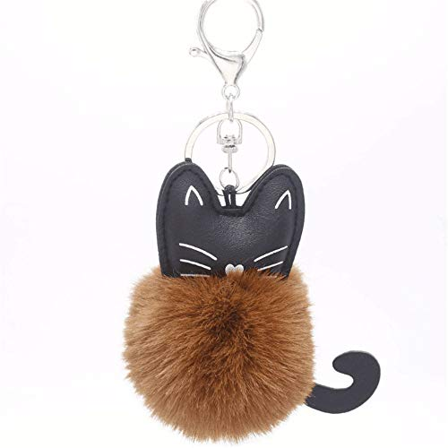 Gold-ton, Valet (Liuzecai Schlüsselring Keychain Auto-Handtasche hängende Normallack-Katze-Haar-Ball-Beutel-Anhänger Nette Faux-Plüsch)