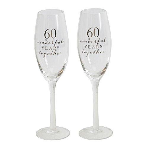 60E anniversaire de mariage Célébration flûtes à partir de Amore par Juliana