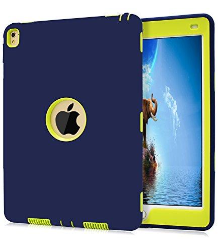 iPad Pro 9.7 Hülle,Dailylux Stoß-Tropfen Schutz Heavy Duty Robuste Drei-Schicht Harte PC + Silikon Hybrid Stoßfestes Abdeckung für Apple iPad Pro 9.7 Zoll 2016(Model A1673 A1674 A1675)-Blau+Gelb (Knopf Abdeckung Der Gelbe)