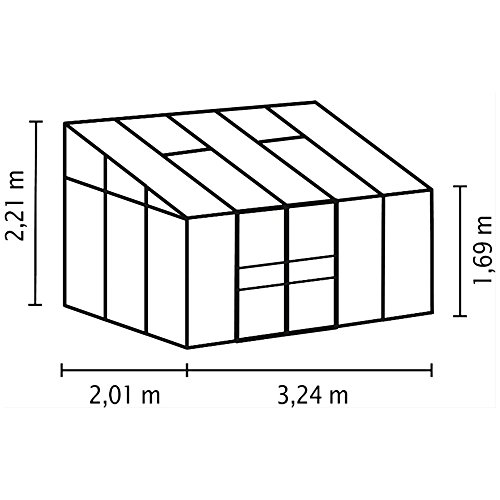 Ida 6500 Alu-Anlehngewächshaus HKP 4 mm grün 6,5 m² mit Fundament