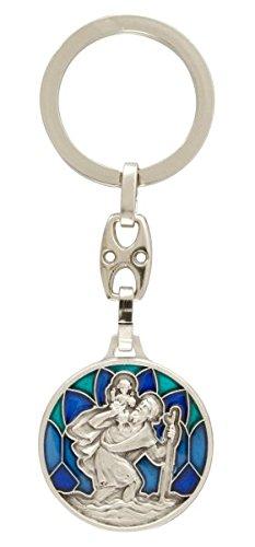 """Schlüsselkette """"Komm gut Heim"""" Emaille blau Mit Bild des Christophorus. Mit blanker Rückseite, zB für eine persönliche Gravur oder Widmung"""