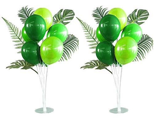 CozofLuv 2 Satz Höhe Tisch Ballon Stand Künstliche Blätter Kit für Geburtstag Partydekorationen und Hochzeitsdekorationen, Happy Birthday Balloons Dekorationen für Party und Weihnachten (Grün)