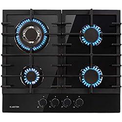 Klarstein Ignito Plaque de cuisson à gaz 4 zones - 4 feux, autosuffisante, 60 cm, encastrée, brûleur Sabaf, gaz naturel/propane, soupapes de sécurité, arrêt automatique, vitrocéramique, noir