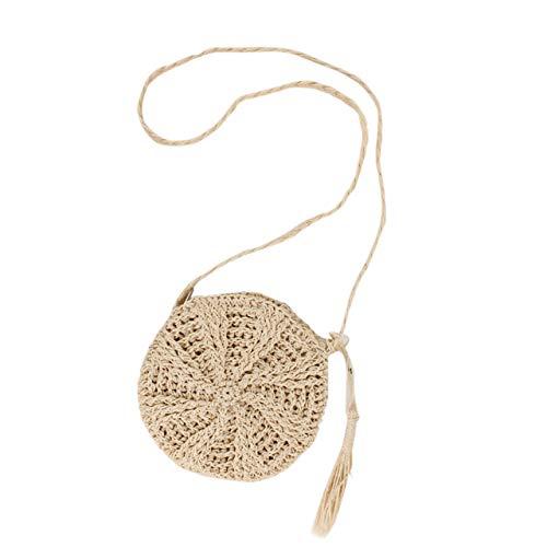 Faletony Sommer Runde Stroh Umhängetasche, Strandtasche Strohtasche Crossbody Strand Tasche für Damen Mädchen Frau, Khaki/Weiß (Weiß)
