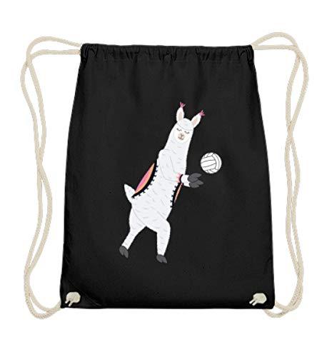 Chorchester Ideal für Volleyball und Alpaka Fans - Baumwoll Gymsac -37cm-46cm-Schwarz
