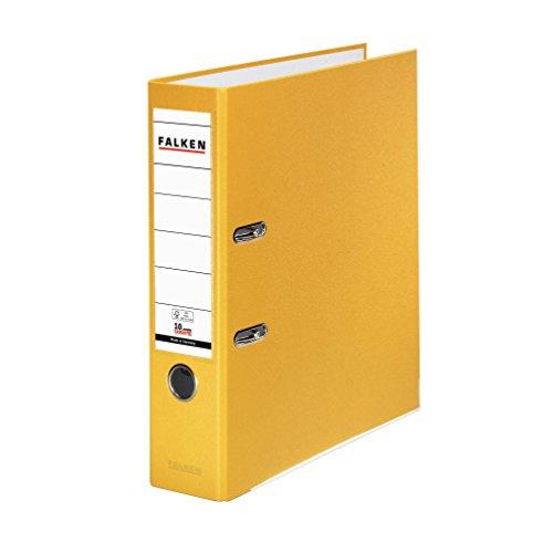 Falken PP-Color Kunststoff-Ordner 8 cm breit DIN A4 gelb Ringordner Aktenordner Briefordner Büroordner Plastikordner Schlitzordner