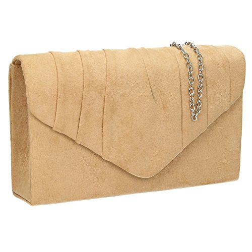 SwankySwans - Iggy Suede Velvet Envelope Party Prom Clutch Bag, Sacchetto Donna Tenné