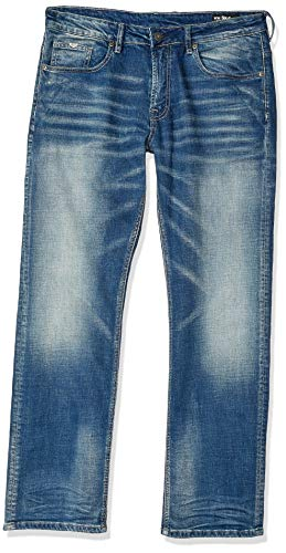 Buffalo David Bitton Herren Jeans, schlank, gerades Bein, sandgestrahlt und Whiskered - Blau - 52 Buffalo Denim