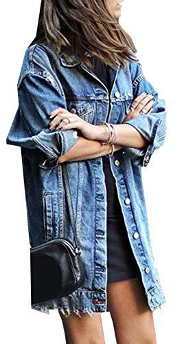 Scothen Jeansjacke Damen Jacke mit Patches Blouson Jacke Loose Jeans Kurz Mantel Beiläufige Outwear Denim Jacke Blouson Übergangsjacke Outwear Trenchcoat Frühling Lange Cut Out OversizeJacke Jacken