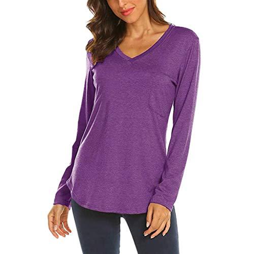 Xmiral Damen Bluse T-Shirt Langarm V-Ausschnitt Taschen Patchwork Pullover Tops(S,Violett) - Slim Fit, Marine Check