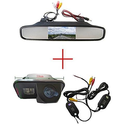 fuway CCD color coche reverso de visión trasera Aparcamiento Back Up cámara para Toyota Corolla Tarago Previa desea, con pantalla color LCD TFT Espejo retrovisor monitor de 4,3pulgadas coche copia de seguridad