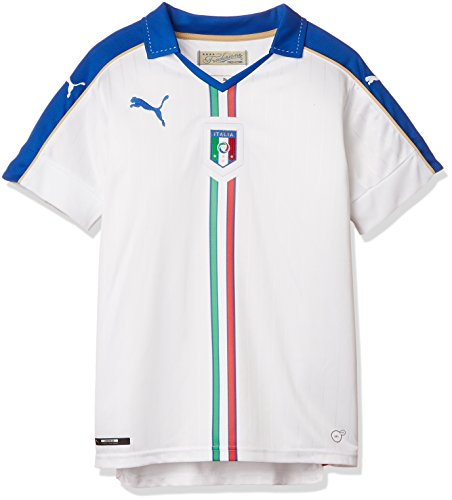 PUMA Kinder Trikot FIGC Italia Away Shirt Replica White/Team Power Blue, 164 - Nationalmannschaft Italienische Trikot