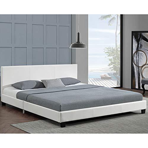 ArtLife Polsterbett Barcelona – 160 x 200 cm – weiß mit Lattenrost & Kaltschaummatratze