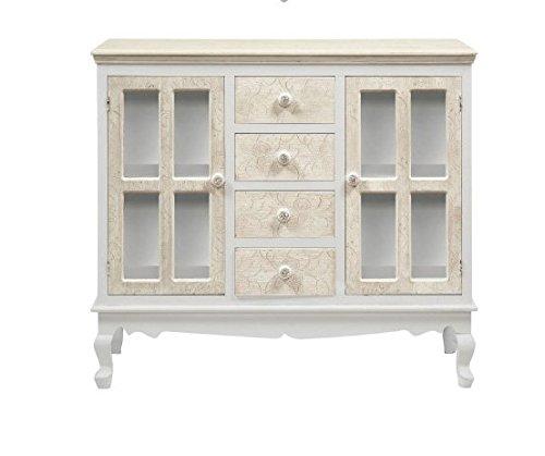 Credenza bianca e avorio a quattro cassetti in legno con intarsi stile vintage L'ARTE DI NACCHI DS-56