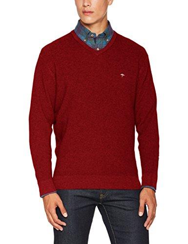 FYNCH-HATTON Herren Pullover V-Neck, Pique Structure Rot (Crimson 360)