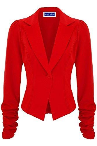 Sapphire - Blazer manche froncée coupe cintrée pour femmes Rouge