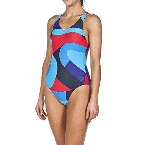 arena Damen Sport Badeanzug Muralist Navy/Danube Blue, 40