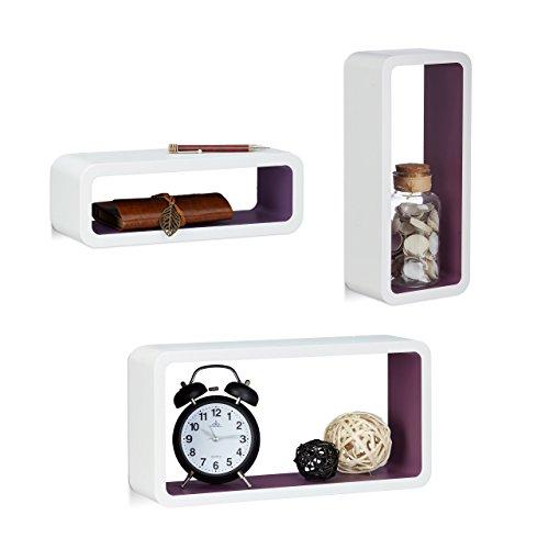 Relaxdays 10021788_749 set di 3 mensole da parete, laccate, varie misure, decorative, capacità di carico 8 kg, bianco-viola