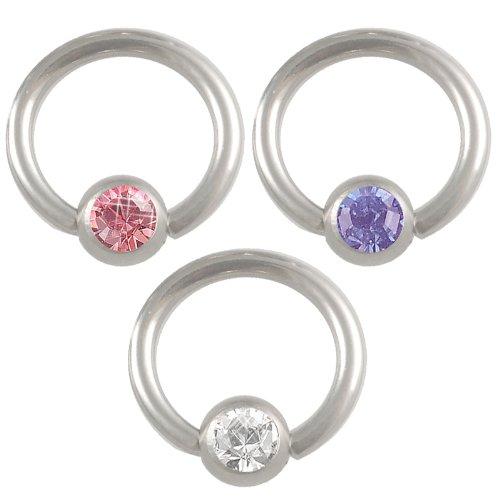 3er Set 1,2 8mm Klemmring BCR Stahl Captive Piercing Heller Saphir Kristall Tragus Helix Augenbraue körperschmuck BLCC