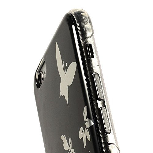 """[A4E] Handyhülle passend für Apple iPhone 6 (4,7"""") Hartschale, Design mit Blume und Schmetterling Muster (türkis, silber) Schmetterling - schwarz"""