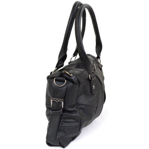 Damenschultertasche aus Leder mit abnehmbarem und verstellbarem Schultergurt, seitliche Schnallen ( Schwarz, Beige, Hellbraun, Dunkelbraun ) Schwarz