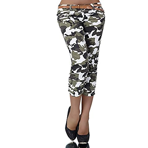 H969 Damen Chino Hose Stoffhose Capri Bermuda Sommerhose Boyfriend Shorts Gürtel, Farben:Weiß;Größen:38 (M)