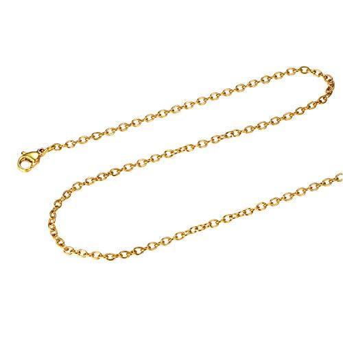FOCALOOK Halskette für Männer Frauen Jungen Mädchen 2mm dünne Rolokette Edelstahl Halskette Ersatzkette für Anhänger goldfarben Gliederkette 60cm