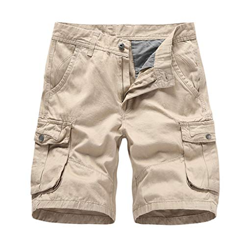 GreatestPAK Herren Pocket Kurze Hosen Lässig Einfarbig Straight Slim Fit Hosen Jeans Tooling Multi-Pocket Lose Shorts,Khaki,EU:L(Tag:34)