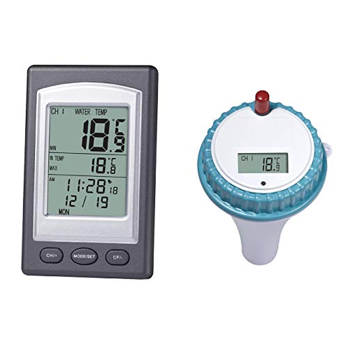 ShiyiUP Badethermometer Pool Wasser Thermometer: Digitales Teich-& Poolthermometer, LCD-Anzeige