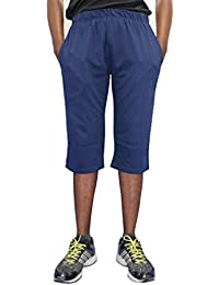 ELK Mens's Blue Cotton Three Fourth Capri Shorts Trouser Clothing Set