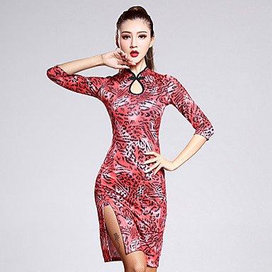 Heart&M Latintanz-Kleider(Schwarz Rot Mehrfarbig,Elastan Samt,Latintanz) - fürDamen Kleid Halbe Sleeve Normal , (1800 Kleid Kostüm)