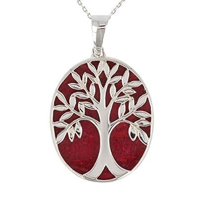 idée cadeau anniversaire-Cadeau bijoux symbole Arbre de vie-Pendentif-corail-Argent massif-ovale-unisexe