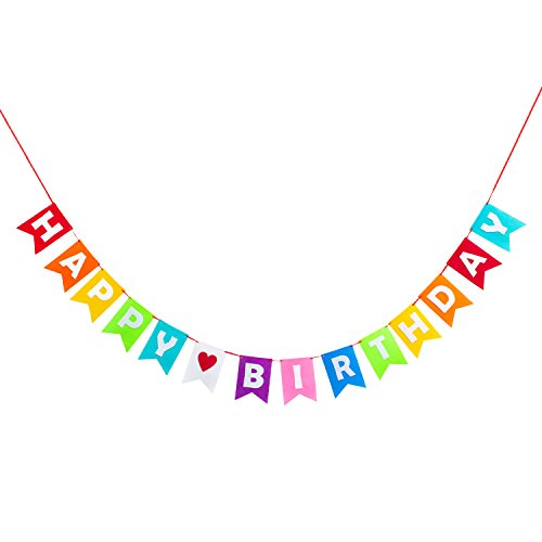 (Oblique-Unique Happy Birthday Girlande Banner aus Filz mit Wimpeln 3m - Bunt - Geburtstag Feier Birthday Party Deko)